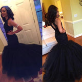 LP 5587 halter Mermaid Beading Prom Dress Black Sexy formal Evening Gown