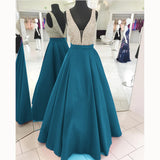 LP3358 Gorgeous Turquiose A Line Satin Senior Prom Dress 2018  Deep V neck Formal evening Gown