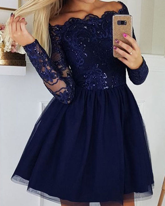 Cute Burgundy /Navy Blue Short Homecoming Dresses Long Sleeves Coctail Party Gown SP102191