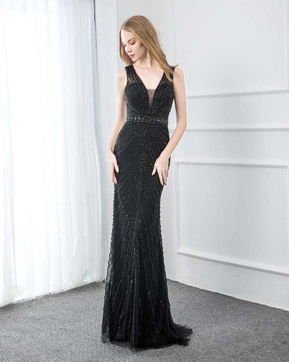 PL2100 Luxury Black Beading Prom Dress Long Party Evening Gown 2020 Sexy V Neck