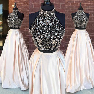 LP1458 High Neck Champagne Two Pieces  Satin Long Prom Dress with Beading Pageant Formal Gown crop Top 2018