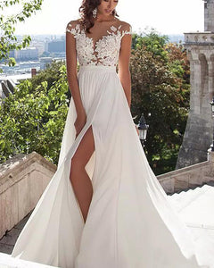 Siaoryne LO0926 Sexy Nude See Through Lace Cap Sleeves Split Long Ivory Chiffon Beach Wedding Dresses Bridal Gown