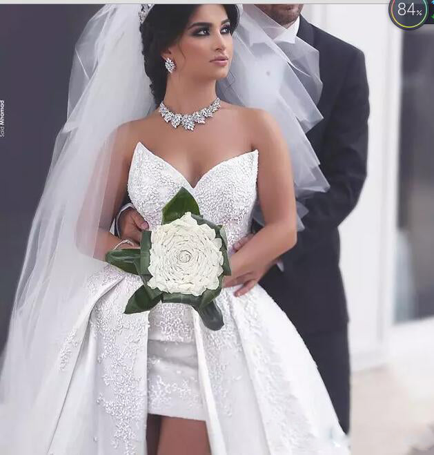 Gorgeous Sweetheart Front Short Long Back Wedding Dresses