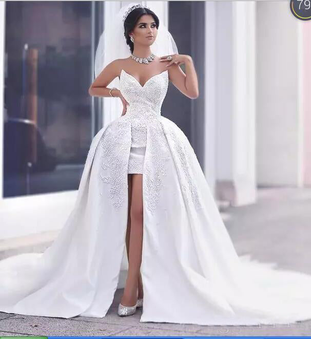 Gorgeous Sweetheart Front Short Long Back Wedding Dresses High Low