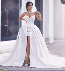 Gorgeous Sweetheart Front Short Long Back wedding Dresses,high low bridal gown