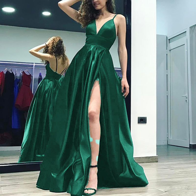 96043ddc7be ... Elegant Burgundy Long Prom Dress 2018 with Slit Sexy Formal Gown Satin Long  Evening Party Gown ...
