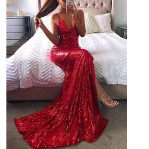 Bling Bling Sequin Prom Dress Red Evening Party Gown Slit Leg Spaghetti Straps vestido de festa