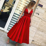 Deep V Neck Prom Dresses  Tea Length  Satin A Line Women Formal Evening Dress