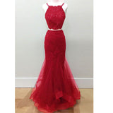 LP1596 Halter Sexy Bordeaux Crop Top 2018 Prom Dress two pieces Mermaid Formal Gowns Pageant Dresses