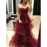 Sweetheart A Line Burgundy Prom Dresses Long Layered Girls graduation Dress