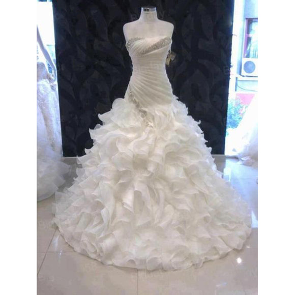 Siaoryne Strapeless Wedding Dresses Ruffle Skirt Dropped Waist Bride Dress with Beading Plus Size