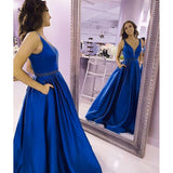 Breathtaking Blue Full Skirt Long Prom Dress with Pocket,A Line Satin Graduation Senior Formal Gowns Long