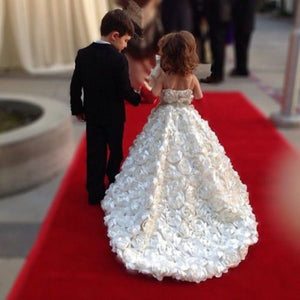 White flower girls dresses for party and wedding ,first communion dresses for girls,Floral flower girl dresses
