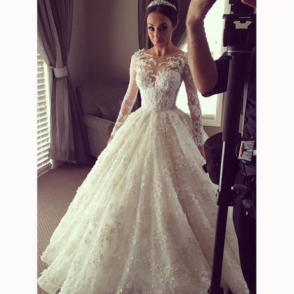 Luxury Ball Gown Lace Long Sleeves Wedding Dresses vestido de boda princesa 2018 Bridal Dress