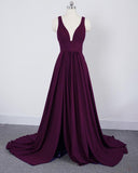Slit Leg Long Red Party Gown Evening Deep V Neck LP641