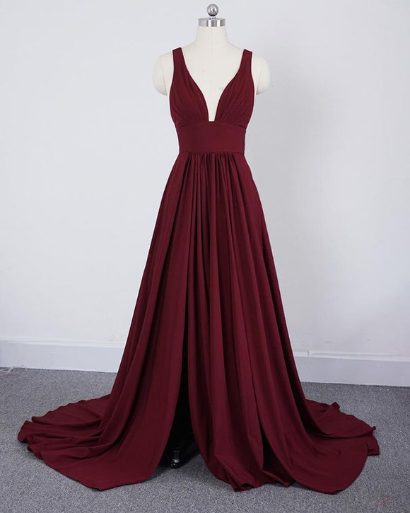 Bordeaux V Neck Bridesmaid Dresses Wedding Slit Burgundy Long robe demoiselle d'honneur PL398