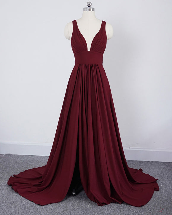 Burgundy Evening Dresses Long with slit Sexy V Neck Women Wedding Party Bridesmaid Gown LP0247