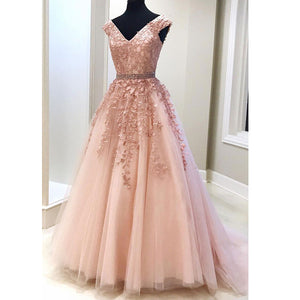 Lace Pink Long Prom Dress for Teens  Senior Graduation Special Occasion Dress LP1525