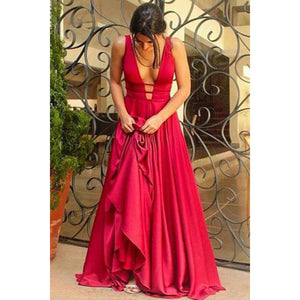 Red Long Evening Gowns Ball Dress Sexy Backless Women Formal Dresses with Straps