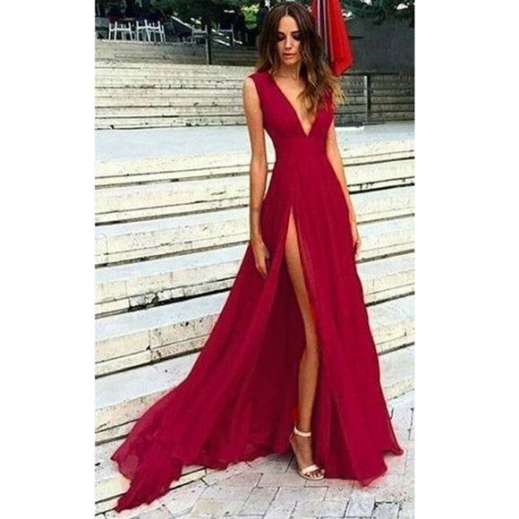 LP8901 Red  Long Sexy Slit Prom Dress V Neck  Evening Party Dress 2018 abiti da sera