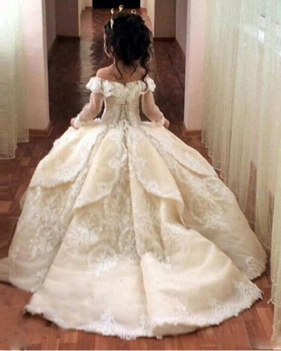 Siaoryne Off Shoulder Ball Gown Ivory Flower Girl Dress Wedding Gown for Little Girls FG2014