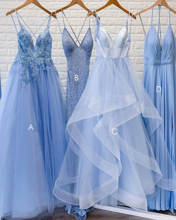 Long 2020 Senior Prom Dresses Skye Blue Girls Formal Outfit with Straps PL5823