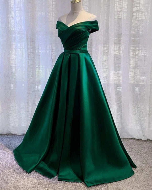Elegant Cheap On Sale Off Shoulder A Line Satin Formal Green Prom Dress 2020  PL0517