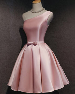 Siaoryne  Pink Satin One shoulder Short Cocktail Party Dress Semi formal Homecoming Dress  SP0912