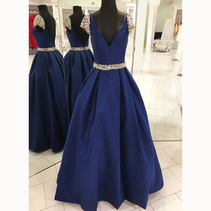 Royal Blue Cap Sleeve Beading A Line satin Formal Gown Long Senior Prom Dresses Plunge V neck Party Dresses LP5530