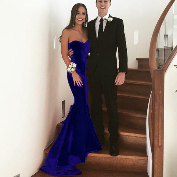 Stunning backless Sweetheart Velvet Evening Dresses Mermaid Long Formal Gowns Royal Blue