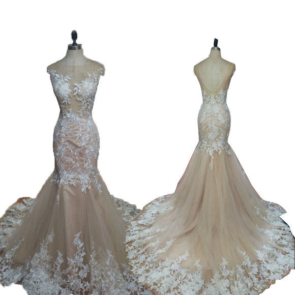 Elegant Lace Champagne Bridal Gown Scoop Neck Mermaid Wedding Dresses 2020
