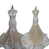 Elegant Lace Champagne Bridal Gown Scoop Neck Mermaid Wedding Dresses 2018
