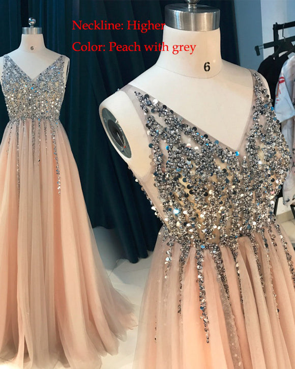 Peach/Gray V Neck Sequins Beading Long Sexy See Through Formal Gowns Prom Dresses PL541