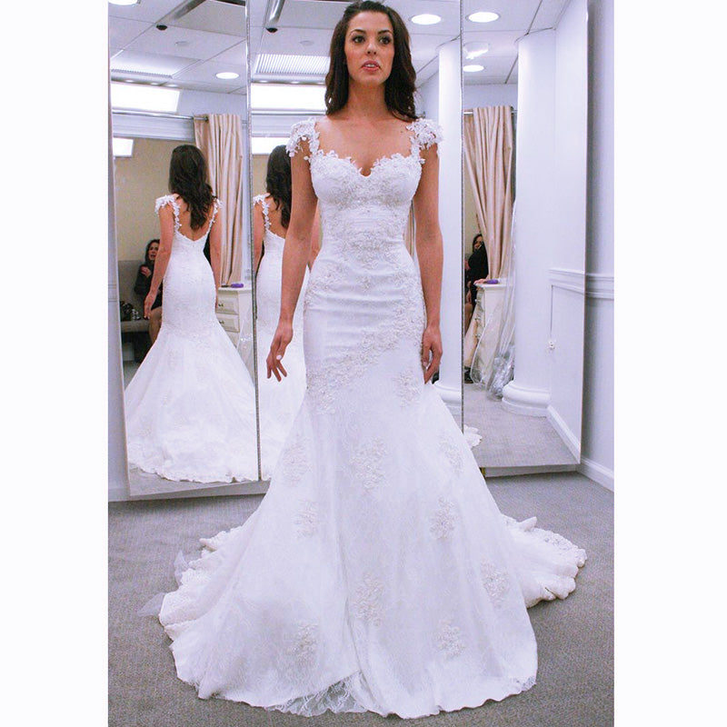 special sales usa cheap sale original WD2143 Classic Sexy Cap Sleeves Lace Wedding Dress 2018 mermaid Bridal  Dress Robe Mariee
