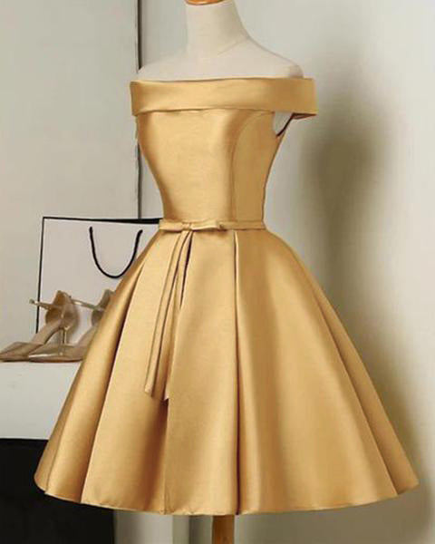 Gold Color Short Party Dresses A Line Satin Semi Formal Gown Cocktail homecoming Dress SP078