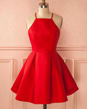 Elegant Halter Short  Prom Dress A Line Satin Short Red Homecoming Cocktail Dress SP07292