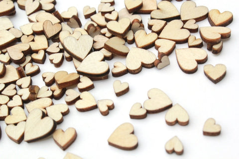 100 Tiny Wooden Hearts Wedding Confetti