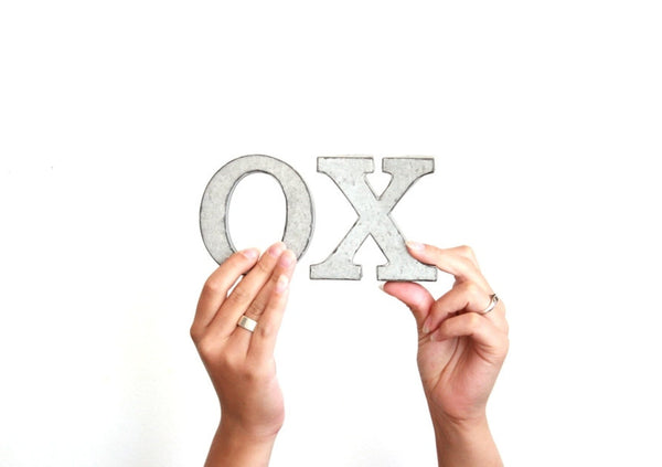 XOXO . metal letters . XO/hugs and kisses . tin letters . free standing letters . tin anniversary . small metal letters . small letters
