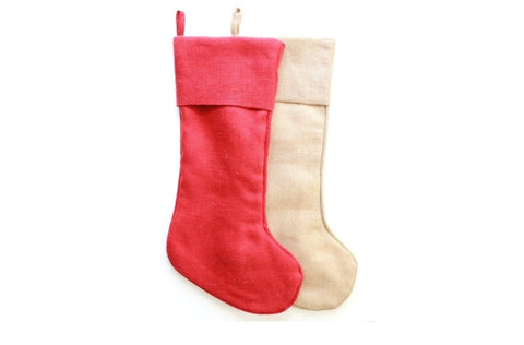 Red Christmas Stocking / Burlap Christmas Stockings