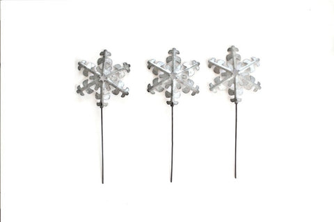 Silver Snowflake Cupcake Toppers Picks & Cake Toppers
