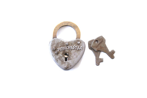 Vintage Heart Lock . Winchester rifle gun lock and key . gifts for hunters . gun lover gift . rifles or ruffles . shotgun wedding decor