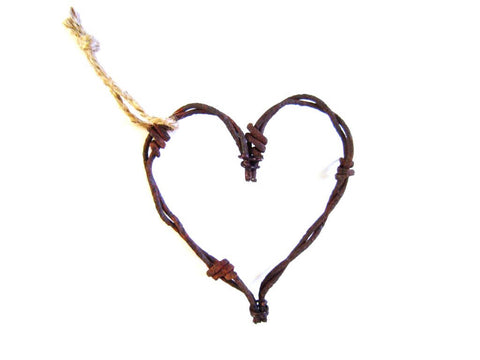 Rustic Barbed Wire Heart or Star