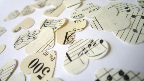 Vintage Hymnal Sheet Music Heart Confetti