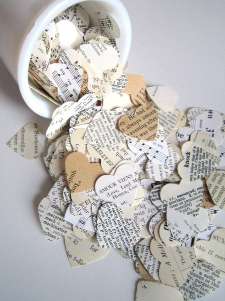 Wedding Confetti 100 Eclectic Paper Heart Confetti/biodegradable confetti . heart wedding favors book confetti