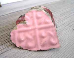 Wedding Favors 3 Tin Hearts . shabby chic wedding decor . vintage tin ceiling tiles, heart tags, rustic wedding