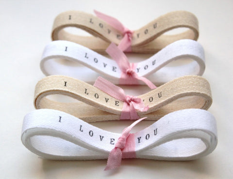 Wedding Favors  Personalized Ribbon -10 yards/Custom Ribbon , personalised ribbon , twill tape , twill ribbon i love you ribbon