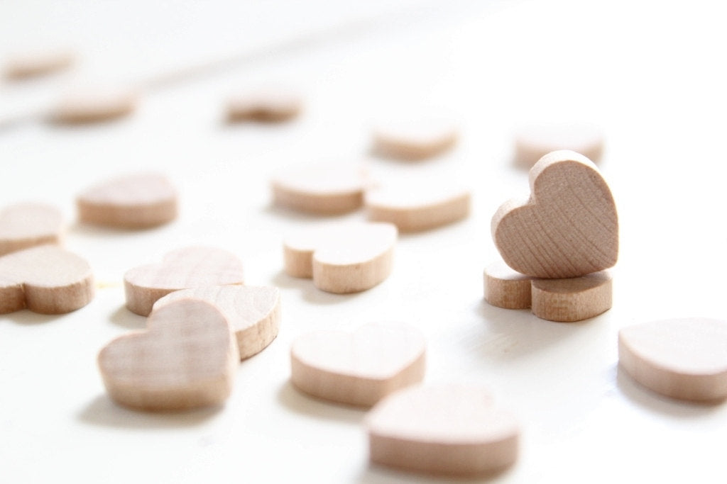 50 Small Wood Heart 1/2 inch Wooden Hearts