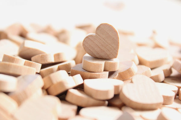 100 Small Wooden Hearts