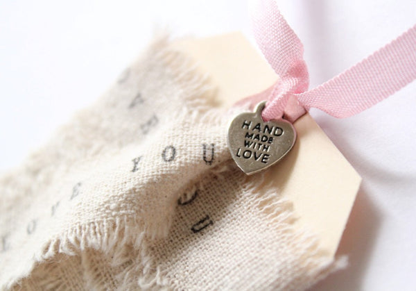 Wedding Favor Tags . 100 Heart Charms . Hand Made With Love . metal heart tags . silver .  wedding favors charms. sewing charms