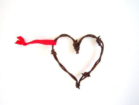 3 Rustic Barbed Wire Hearts